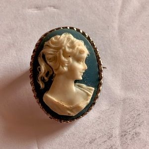 Carved Cameo Shell Brooch Pin